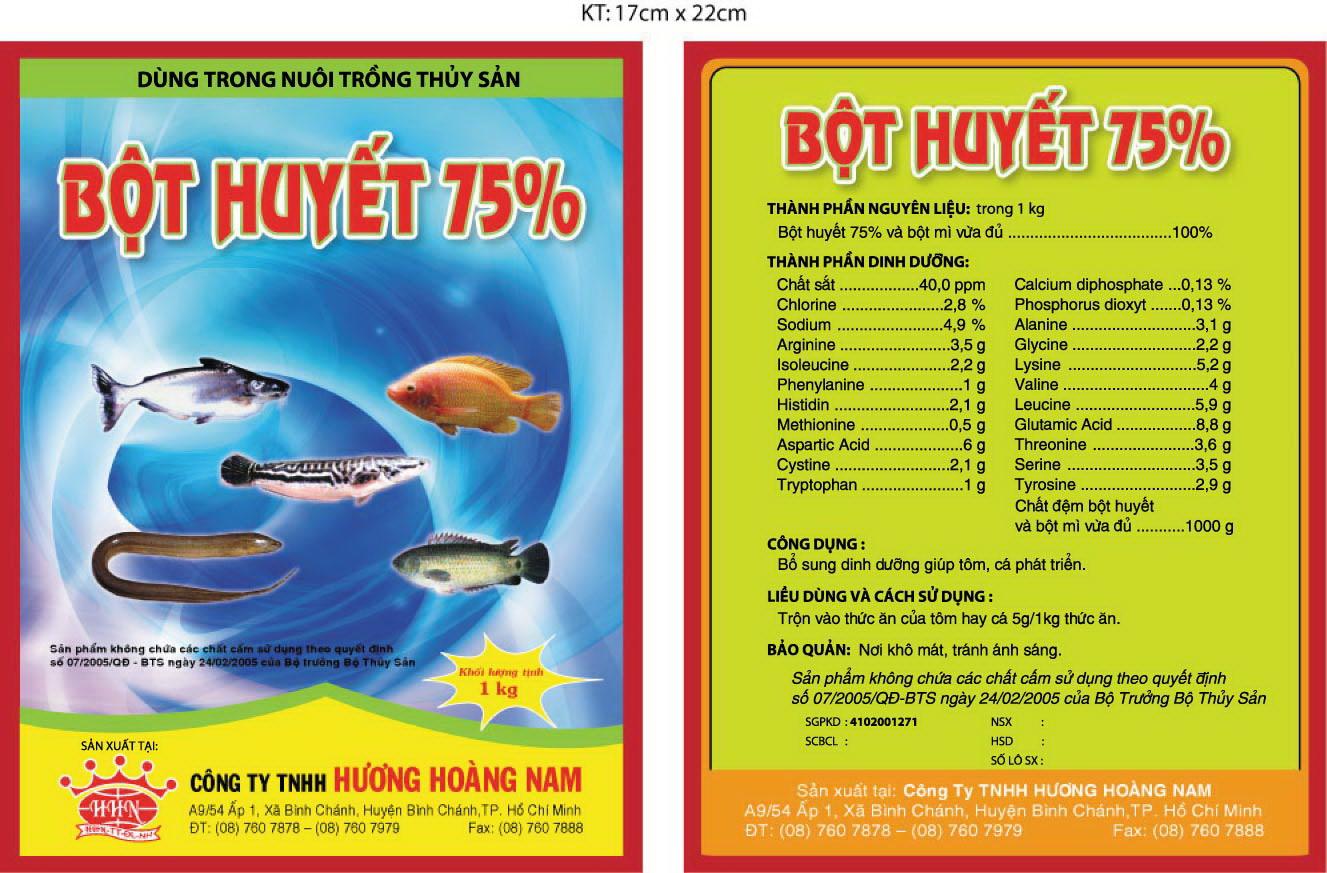 Dinh dưỡng thủy sản Bột huyết 75%