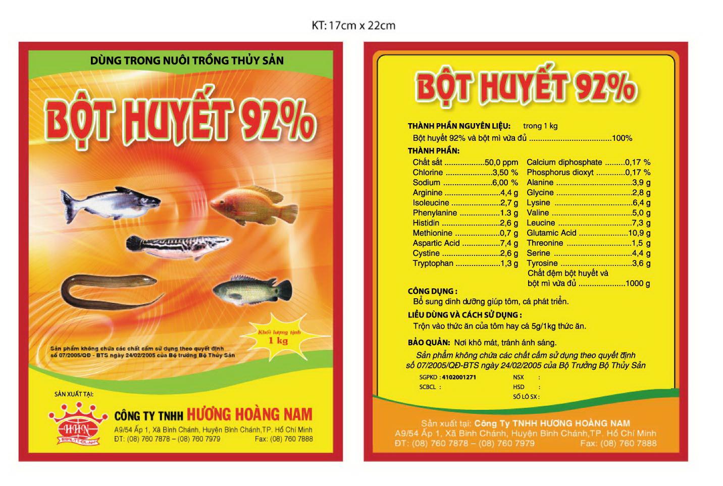 Dinh dưỡng gia súc Bột huyết 92%