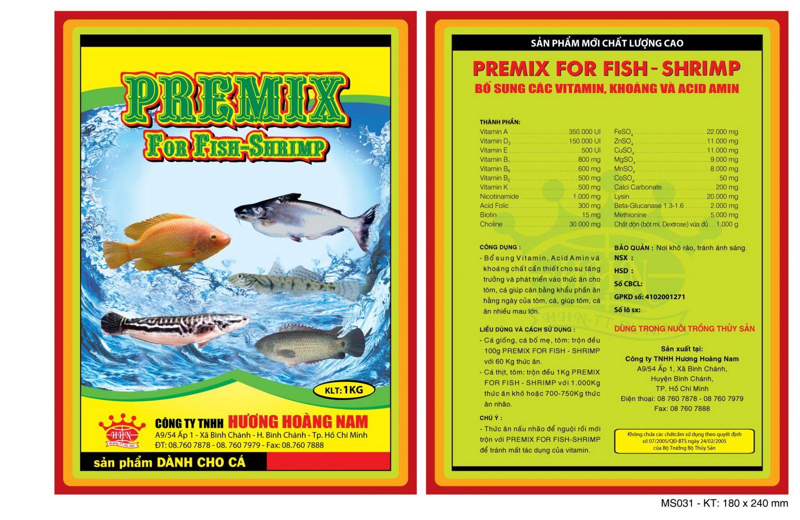 Dinh dưỡng thủy sản Premix for fish - shrimp